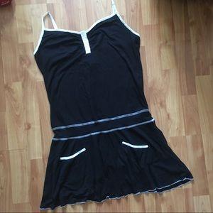 Colcci Silver Black and White Drop Waist Dress